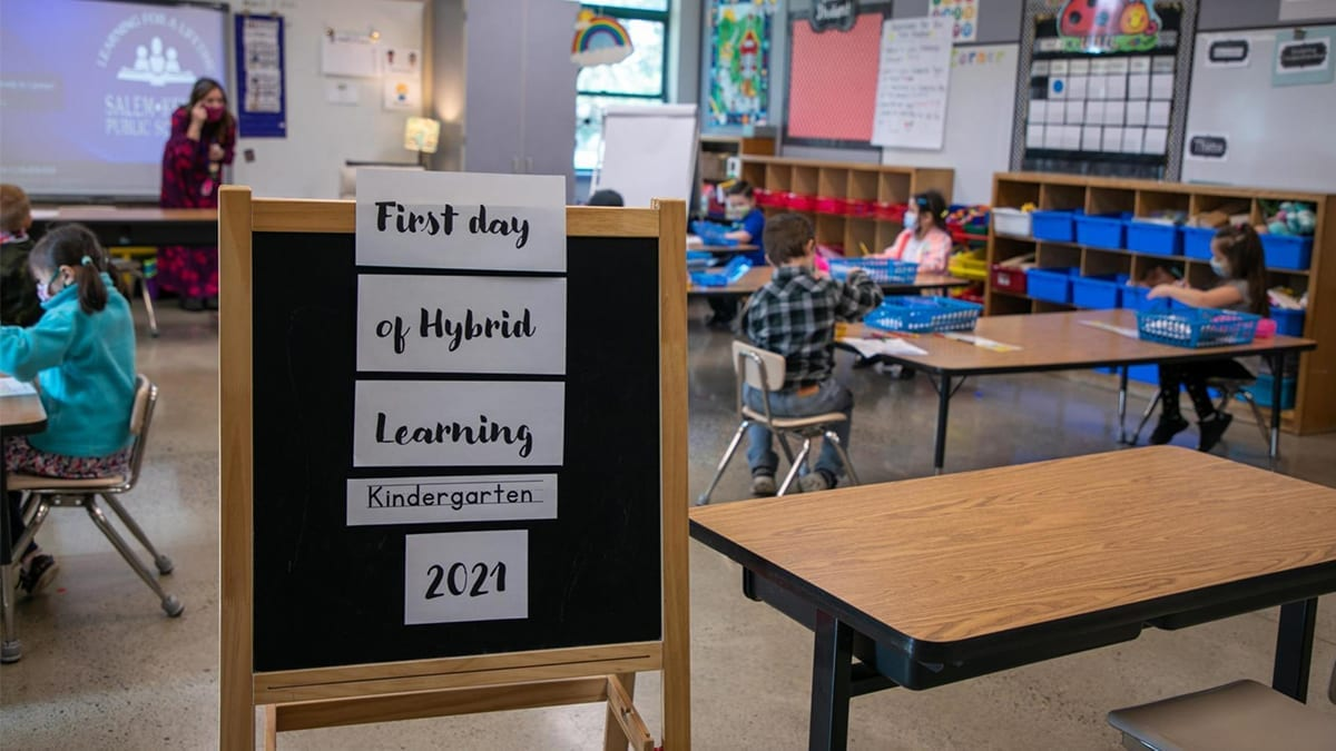Photo of first day hybrid learning kindergarten 2021